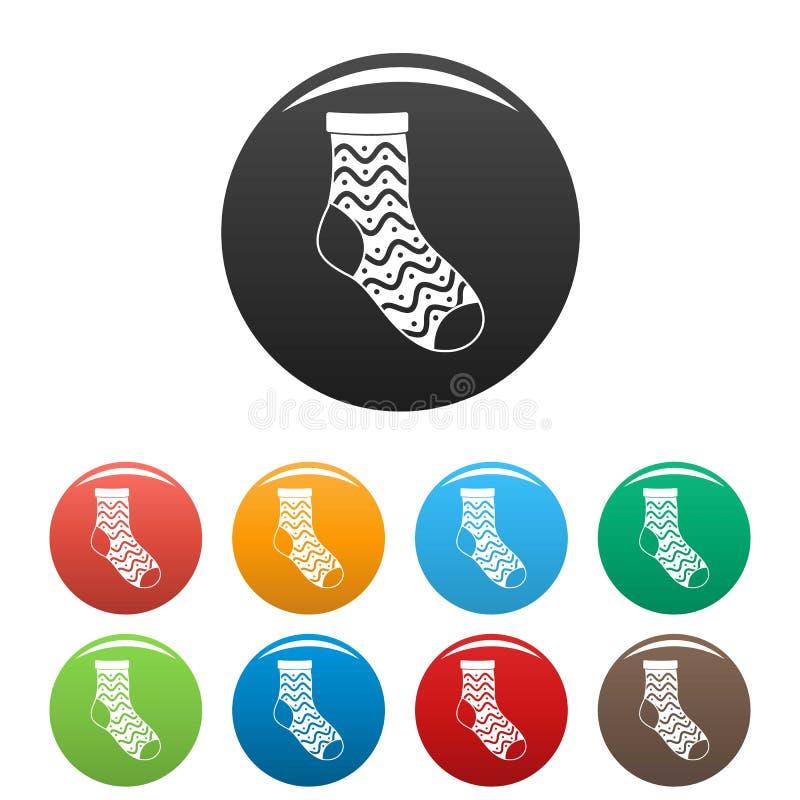 Colore fissato icone piacevoli del calzino illustrazione di stock