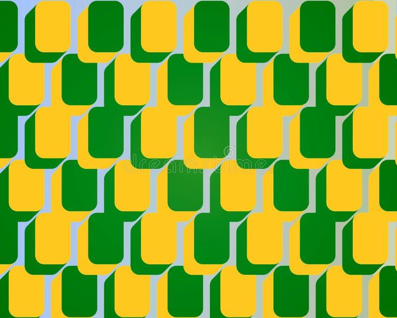 Colore giallo arrotondato di verde del reticolo dei blocchetti quadrati di arte di schiocco royalty illustrazione gratis