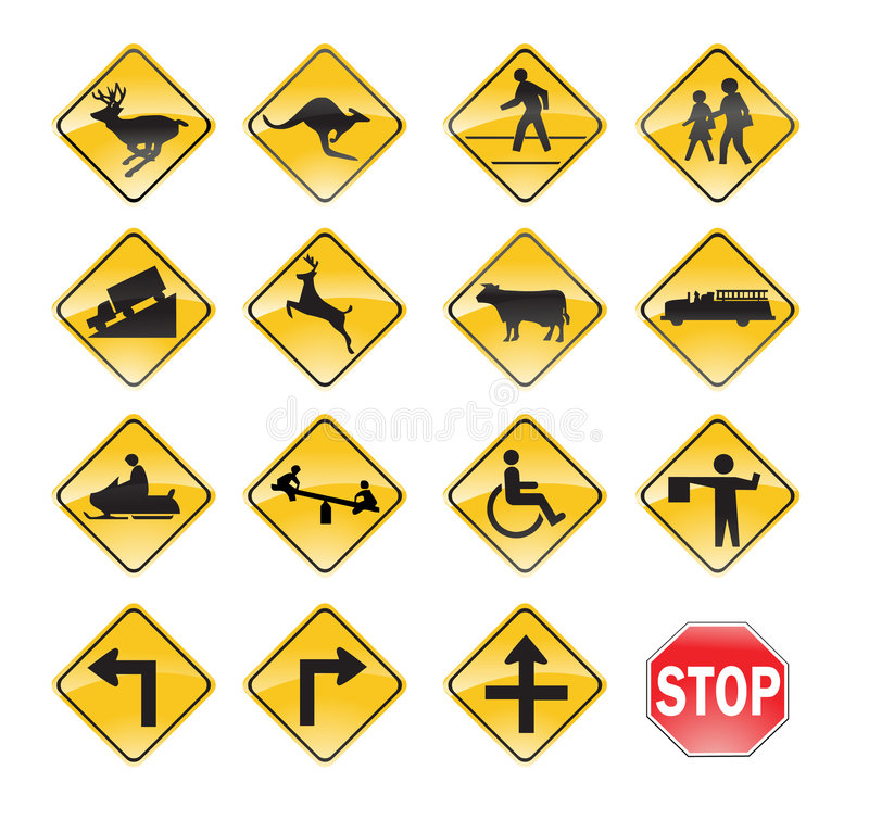 Giallo dei segnali stradali illustrazione di stock