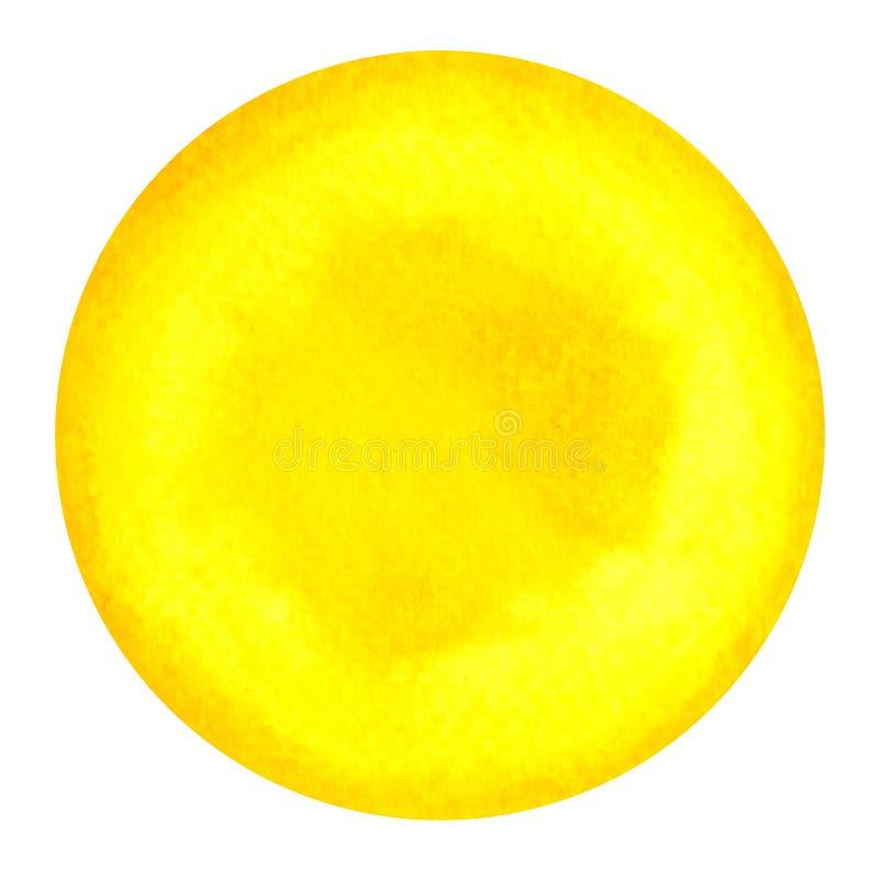 Colore giallo del concetto del plesso solare di simbolo di chakra, pittura dell'acquerello illustrazione vettoriale