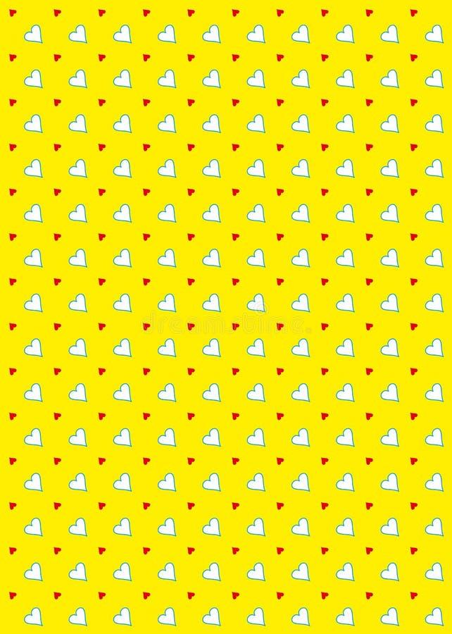 Colore giallo della priorità bassa del reticolo del cuore royalty illustrazione gratis