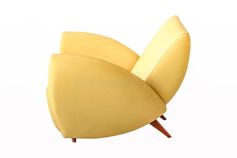 Colore giallo di cuoio del sofà isolato su fondo bianco immagini stock