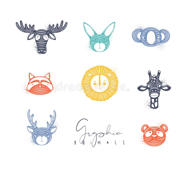 Colore grafico autentico degli animali illustrazione di stock