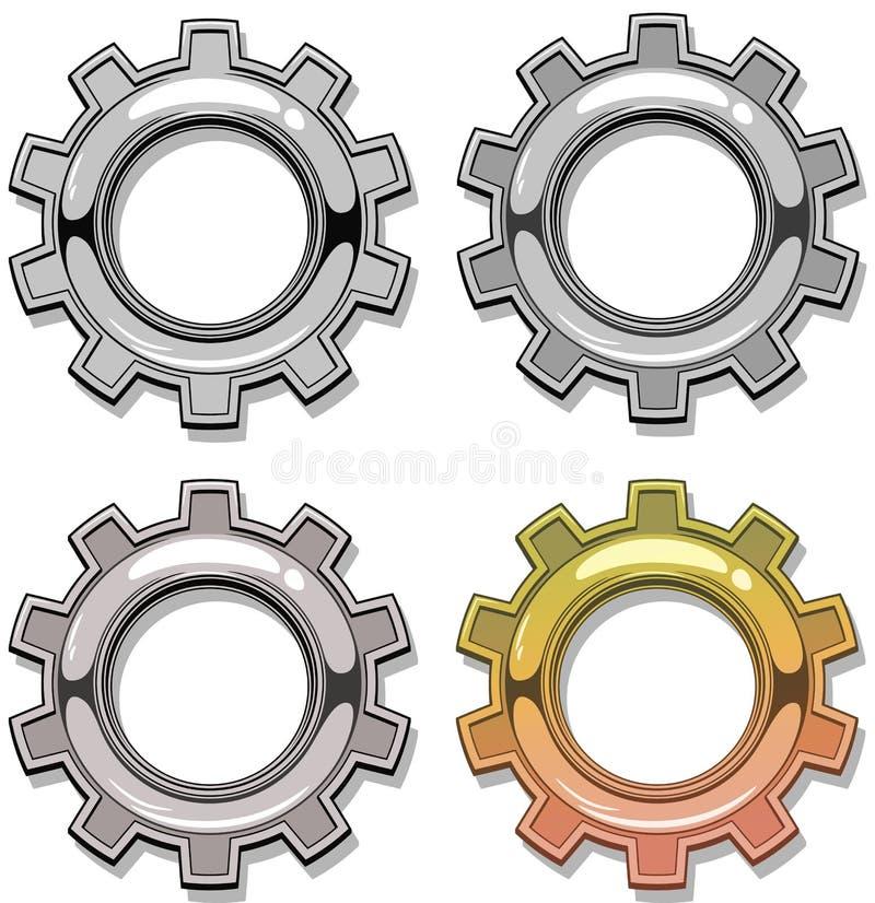 Colore grafico ed insieme meccanico grigio di vettore dell'ingranaggio royalty illustrazione gratis