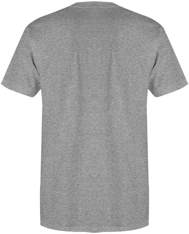 Colore grigio dell'erica posteriore di vista della maglietta dello spazio in bianco isolato su fondo bianco, pronto per derisione fotografie stock