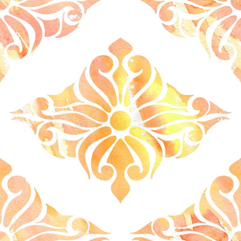 Colore l'ornement oriental sans couture, aquarelle d'abstraction illustration stock