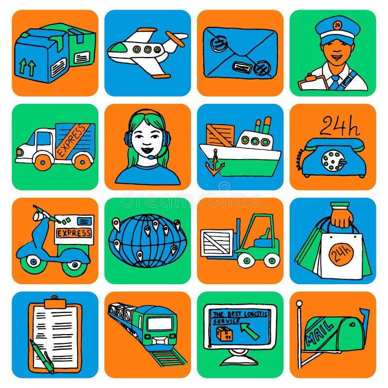 Colore logistico delle icone del fumetto illustrazione di stock