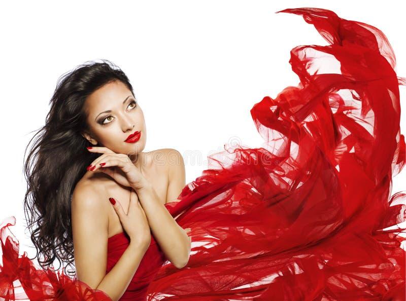 Colore lungo del nero dei capelli della donna, modello di moda Face Makeup Portrait fotografie stock