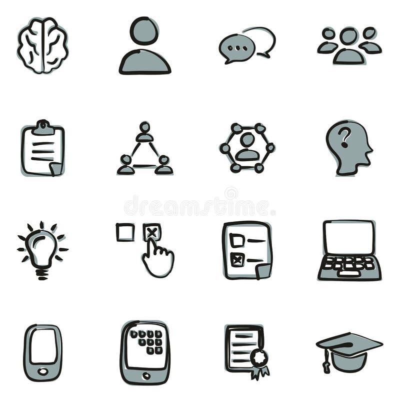 Colore a mano libera 2 delle icone di quiz di schiocco o di quiz illustrazione vettoriale