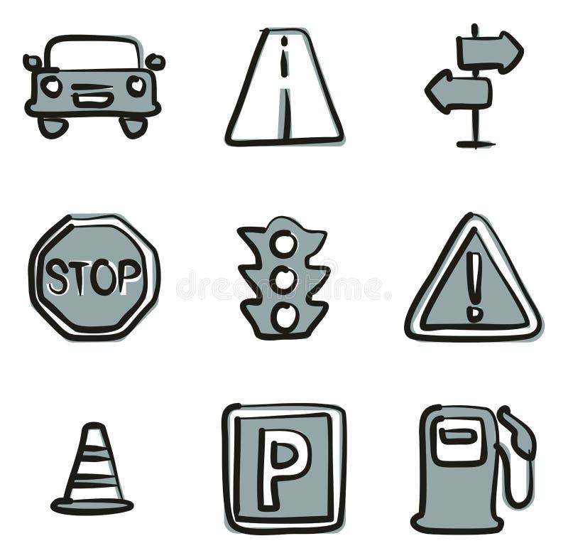 Colore a mano libera 2 delle icone di traffico illustrazione di stock