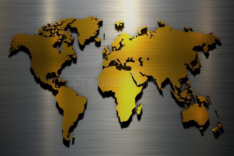 colore metallico dell'oro della mappa di mondo della rappresentazione 3d illustrazione di stock