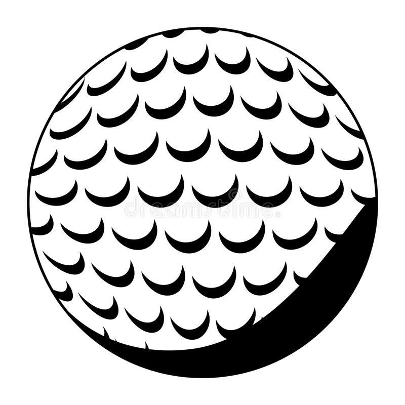 Colore nero della siluetta con palla da golf illustrazione di stock