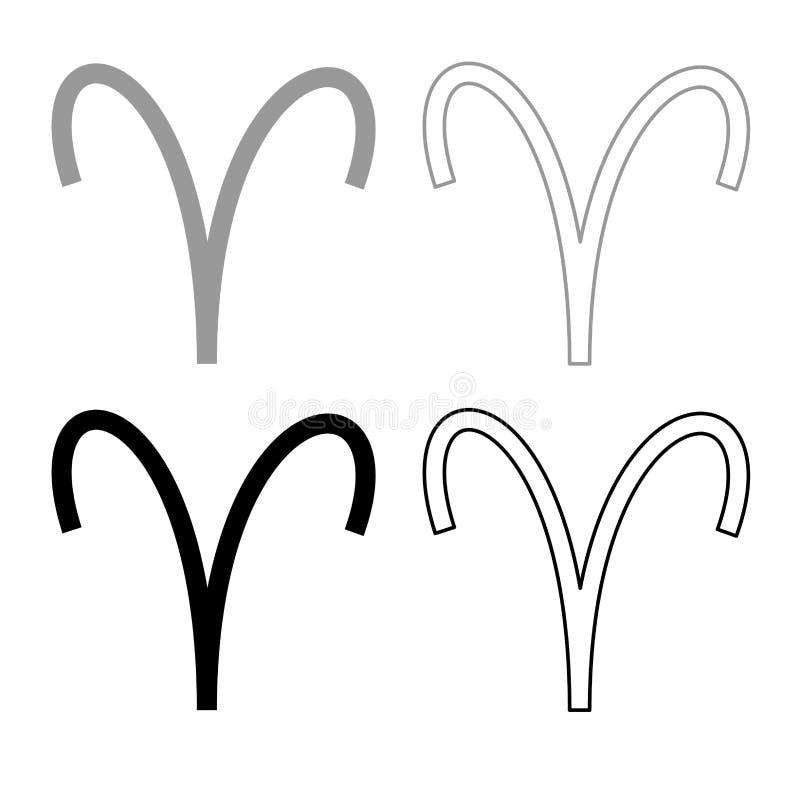 Colore nero grigio stabilito del profilo dell'icona di simbolo dell'Ariete illustrazione vettoriale