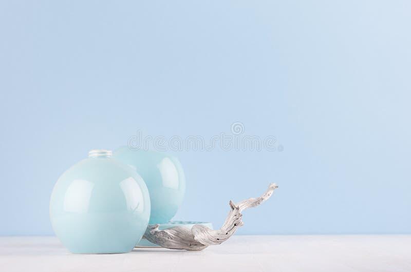 Colore pastello blu-chiaro morbido in decorazione domestica minimalista - vasi ceramici della sfera, vecchio albero misero sul bo fotografia stock libera da diritti