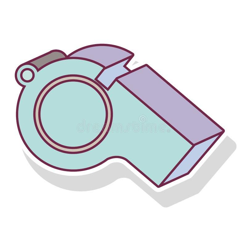 colore pastello della siluetta del fischio con ombra illustrazione di stock