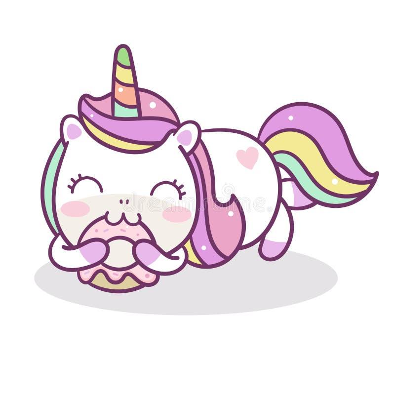 Colore pastello sveglio di buon compleanno del dolce della ciambella di vettore dell'unicorno illustrazione di stock