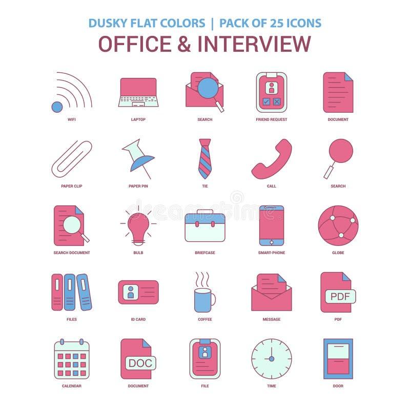 Colore piano oscuro dell'icona di intervista e dell'ufficio - icona Pac dell'annata 25 illustrazione vettoriale