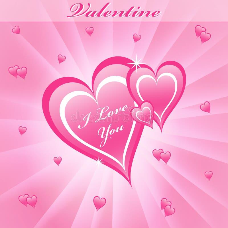 Colore rosa dei cuori di amore del biglietto di S. Valentino illustrazione di stock