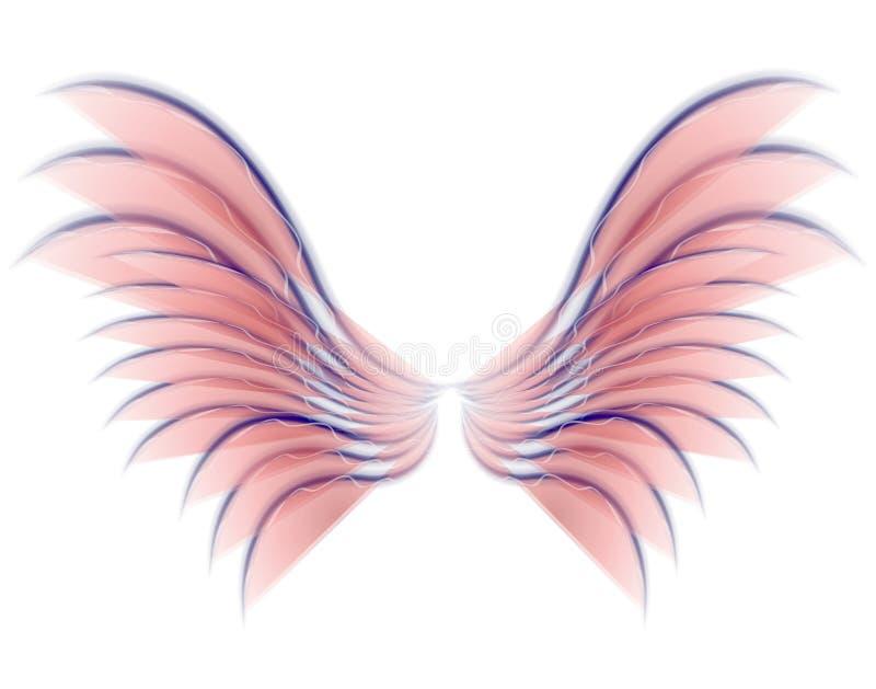 Colore rosa delle ali dell'uccello o del Fairy di angelo illustrazione di stock