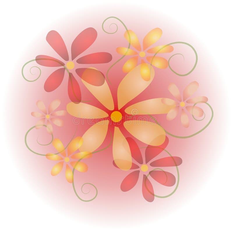 Colore rosa pastello morbido 2 dei fiori illustrazione vettoriale
