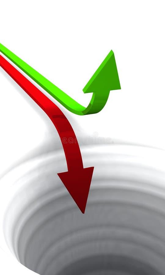 colore rosso 03 di verde di concetto delle frecce 3D illustrazione di stock