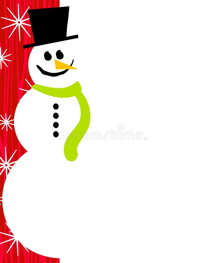 Colore rosso del bordo della pagina del pupazzo di neve illustrazione di stock