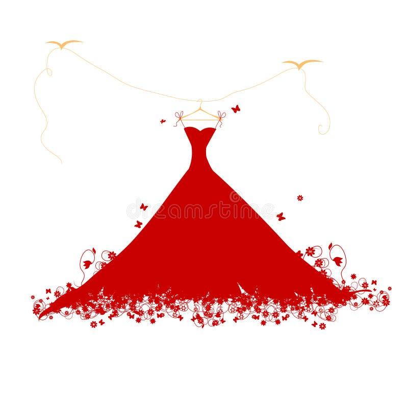 Colore rosso del vestito su hander royalty illustrazione gratis