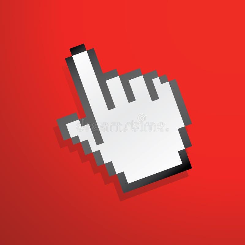 Colore rosso dell'icona della mano del mouse illustrazione di stock