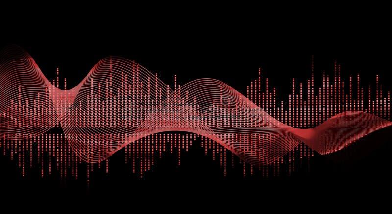 Colore rosso dell'onda di musica illustrazione vettoriale