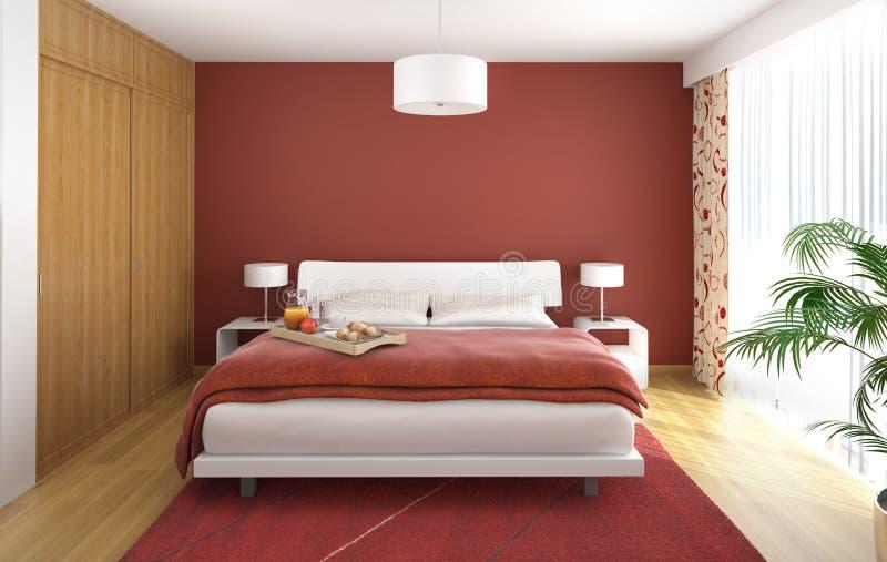 Colore rosso della camera da letto di disegno interno illustrazione di stock