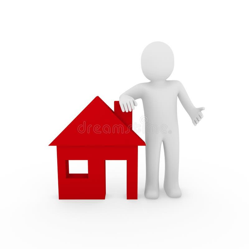 colore rosso della casa dell'uomo 3d illustrazione di stock