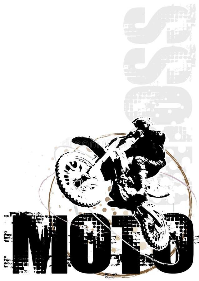 Colore rosso della priorità bassa del manifesto del cerchio di motocross illustrazione vettoriale