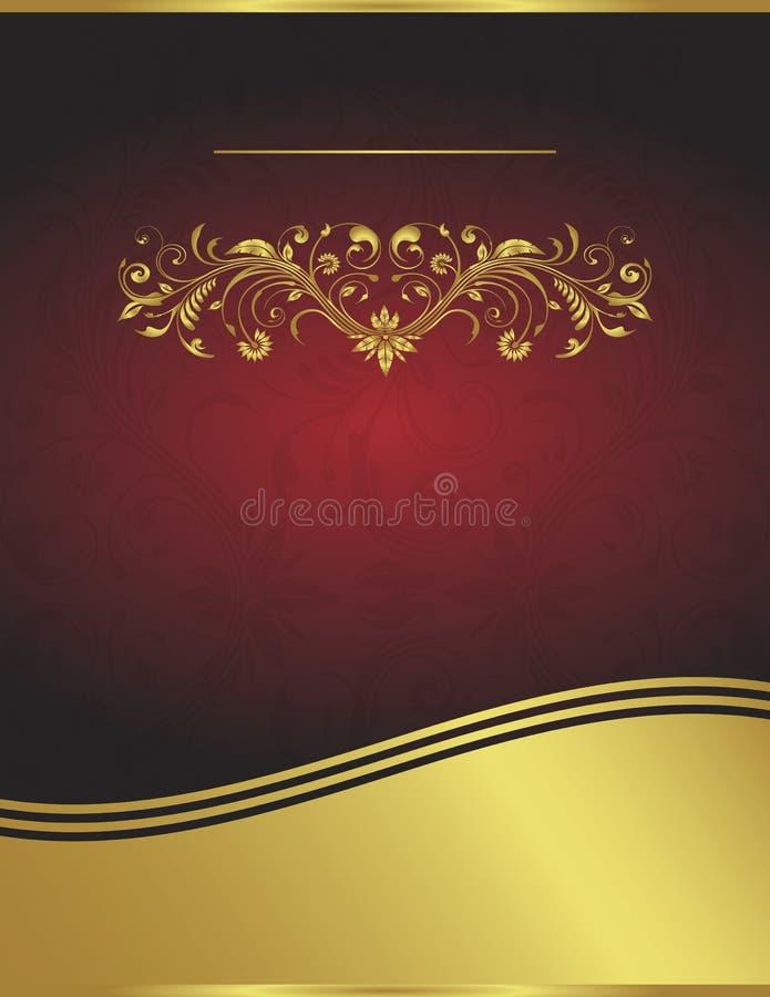 Colore rosso di vettore e modello eleganti della priorità bassa dell'oro illustrazione vettoriale