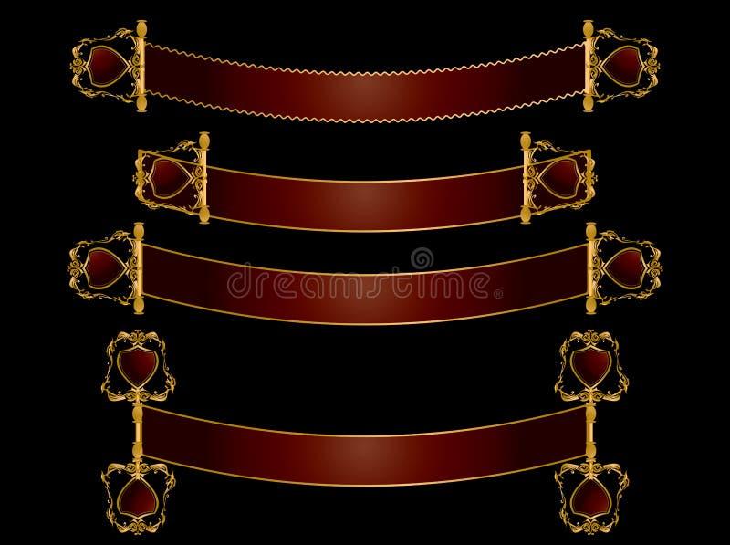 Colore rosso e bandiere del rotolo dell'oro illustrazione di stock