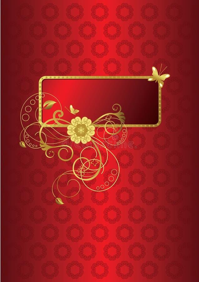 Colore rosso e cartolina d'auguri floreale dell'oro illustrazione di stock