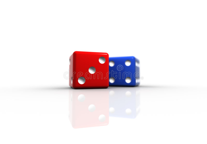 Colore rosso e dadi blu fotografie stock