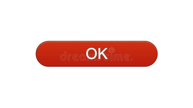 Colore rosso giusto del vino del bottone dell'interfaccia di web, programma online, progettazione del sito internet royalty illustrazione gratis