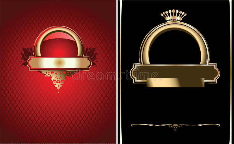 Colore rosso, il nero e bandiera decorata dell'oro. illustrazione di stock
