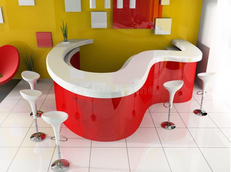 colore rosso moderno di ricezione dell'hotel illustrazione di stock