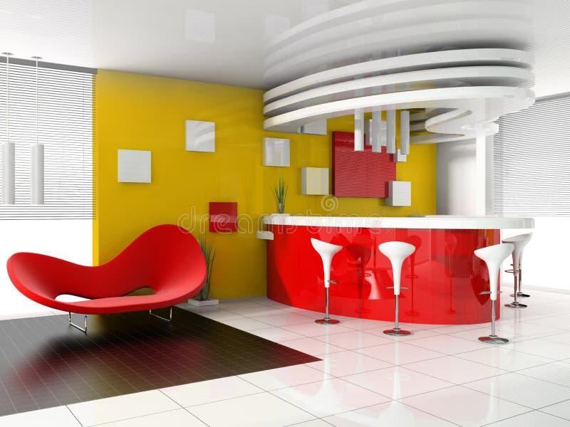colore rosso moderno di ricezione dell'hotel illustrazione vettoriale