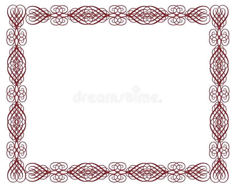 Colore rosso ornamentale del bordo del certificato illustrazione vettoriale