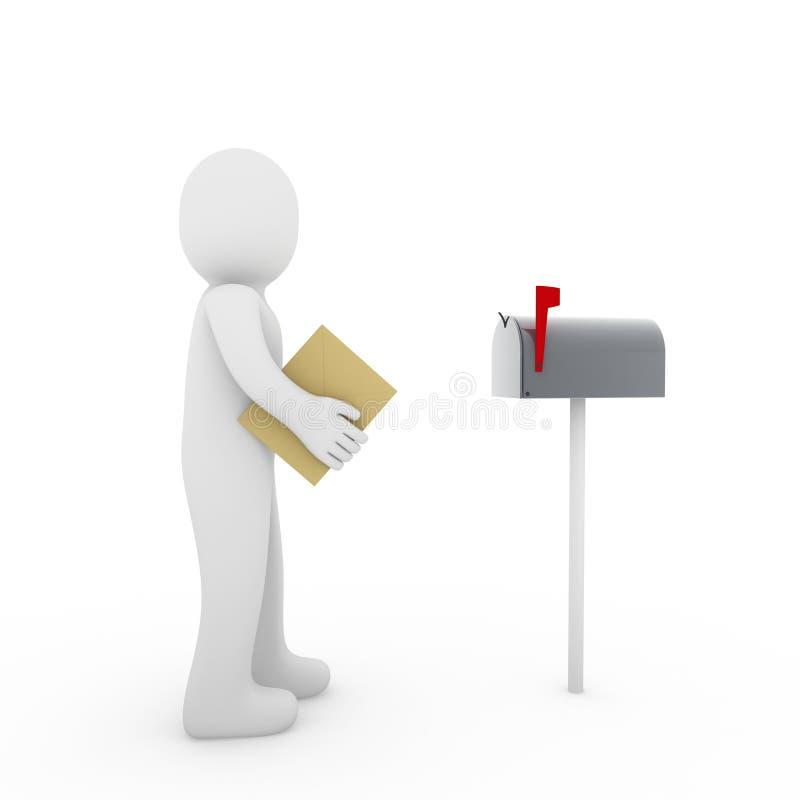 colore rosso umano della cassetta postale della lettera 3d illustrazione di stock