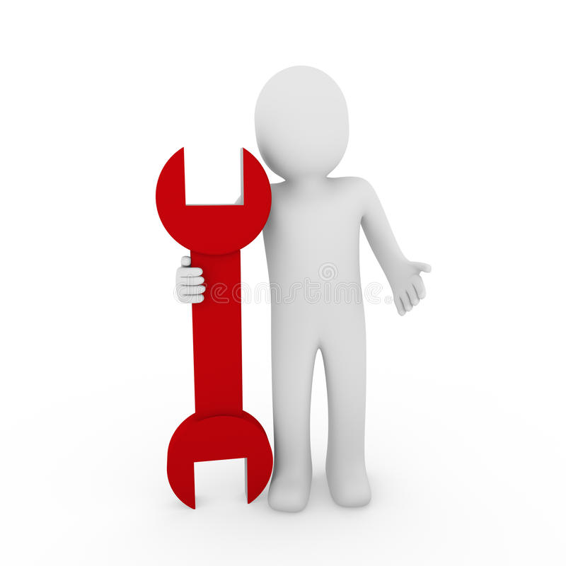 colore rosso umano della chiave 3d illustrazione di stock