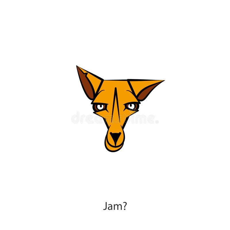 Colore selvaggio della volpe della testa divertente illustrazione vettoriale