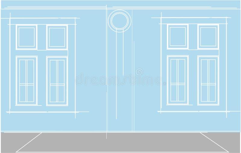 Colore semplice del quadrato del cyrcle della costruzione della finestra fotografia stock