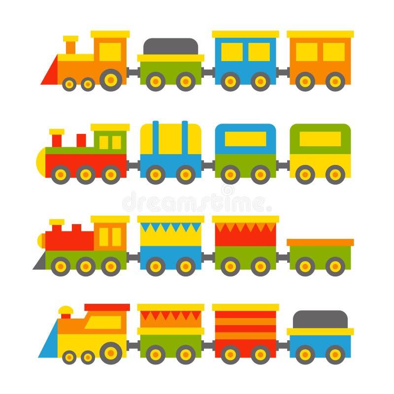 Colore semplice Toy Trains di stile e vagoni messi Vettore illustrazione vettoriale