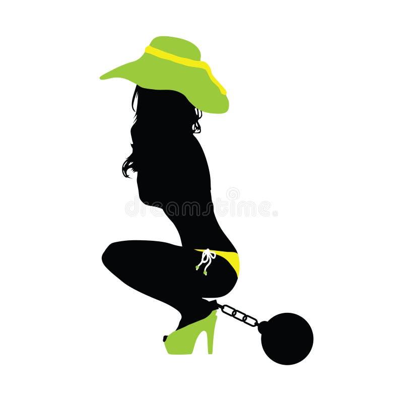 Colore sensuale della siluetta della ragazza con l'illustrazione della palla di prision illustrazione vettoriale