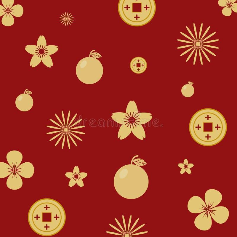 Colore senza cuciture dell'oro del modello su fondo rosso con gli elementi cinesi illustrazione vettoriale