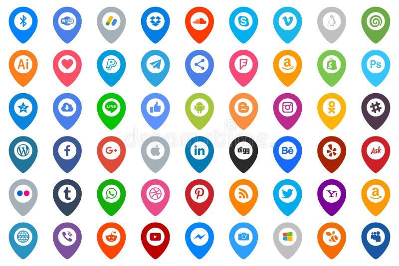 colore sociale del gruppo di media delle icone royalty illustrazione gratis