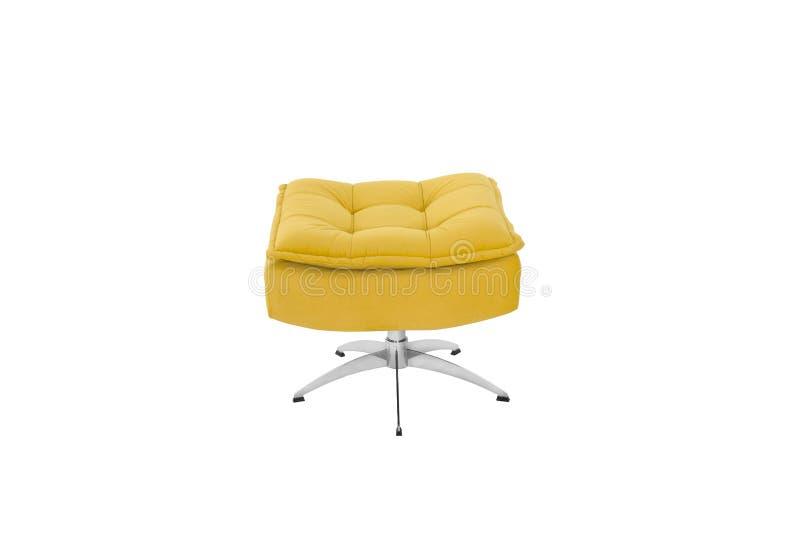 Colore Sofa Armchair giallo isolato su fondo bianco immagine stock libera da diritti